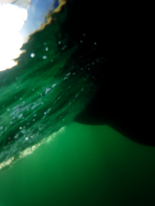 Look at that clean bottom! Underwater shot of the hull sailing