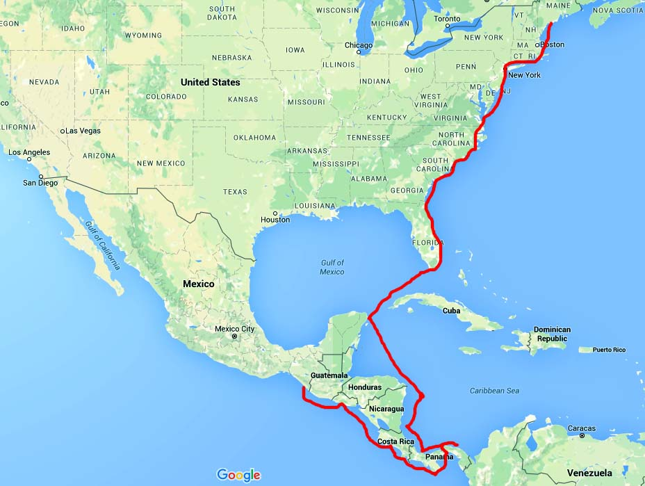 Brio_Chiapas to Panama to Florida to Maine_Sailing-Route