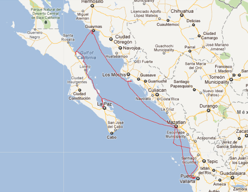 Our route through the Sea of Cortez in Winter 2011-2012