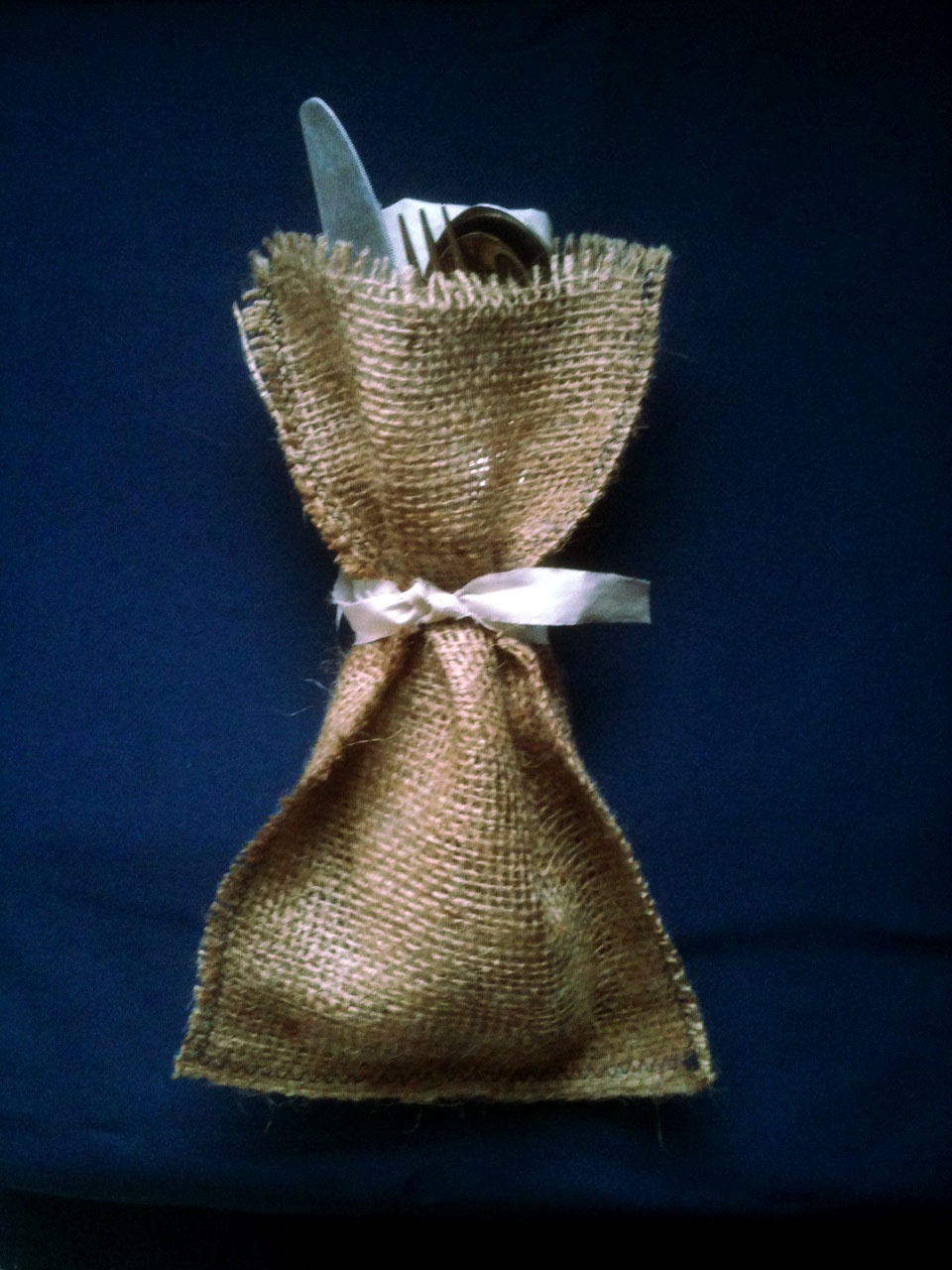 Burlap Cutlery & Lobster Bib Holder