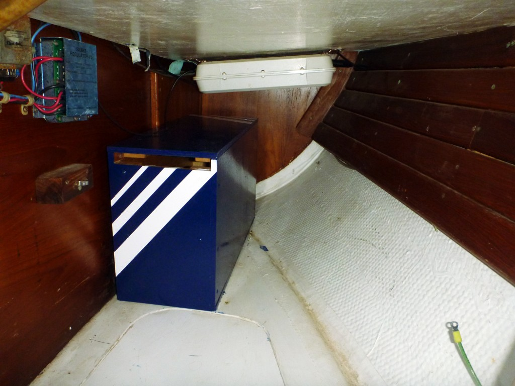 "Battery box in the quarter berth - with it's new ""Brio Stripe"""
