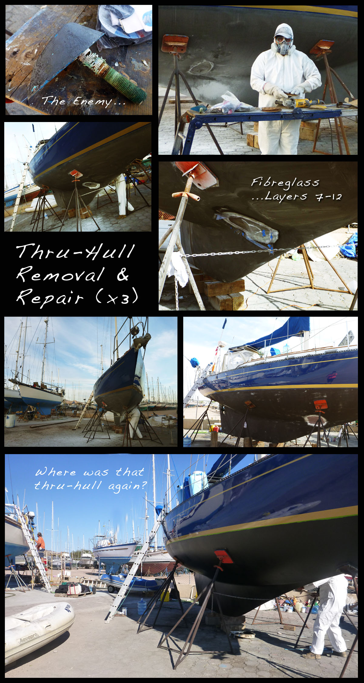 Removing and Repairing Old Thru Hulls NorWest 33