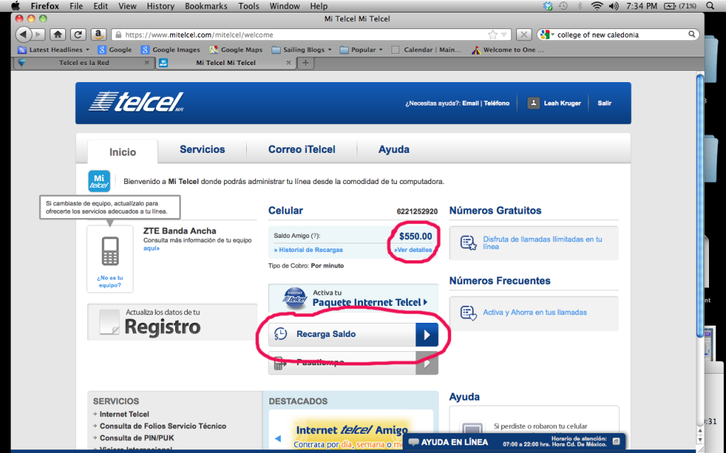 Mi Telcel home page showing account balance