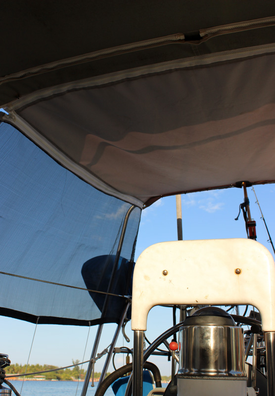 New bimini with sun shades that zip on