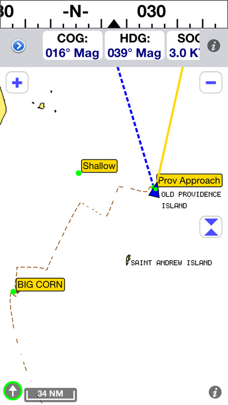 Our route from Big Corn Island to Providencia