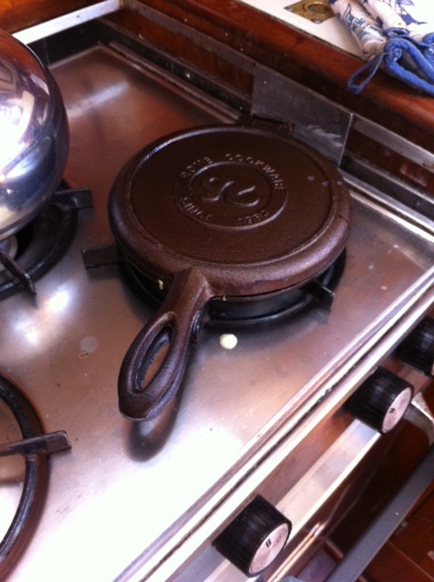 Stove top waffle-maker for a boat