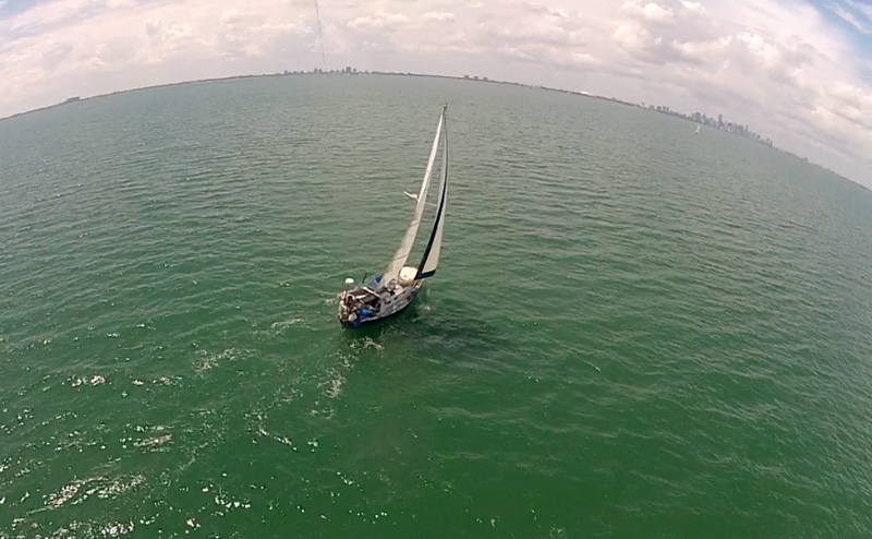 GoPro camera from a sailboat with Miami skyline in the background