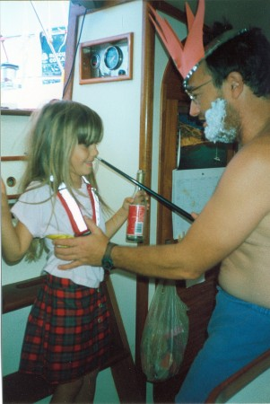 My sister being recognized by King Neptune as we cross the equator (1998)