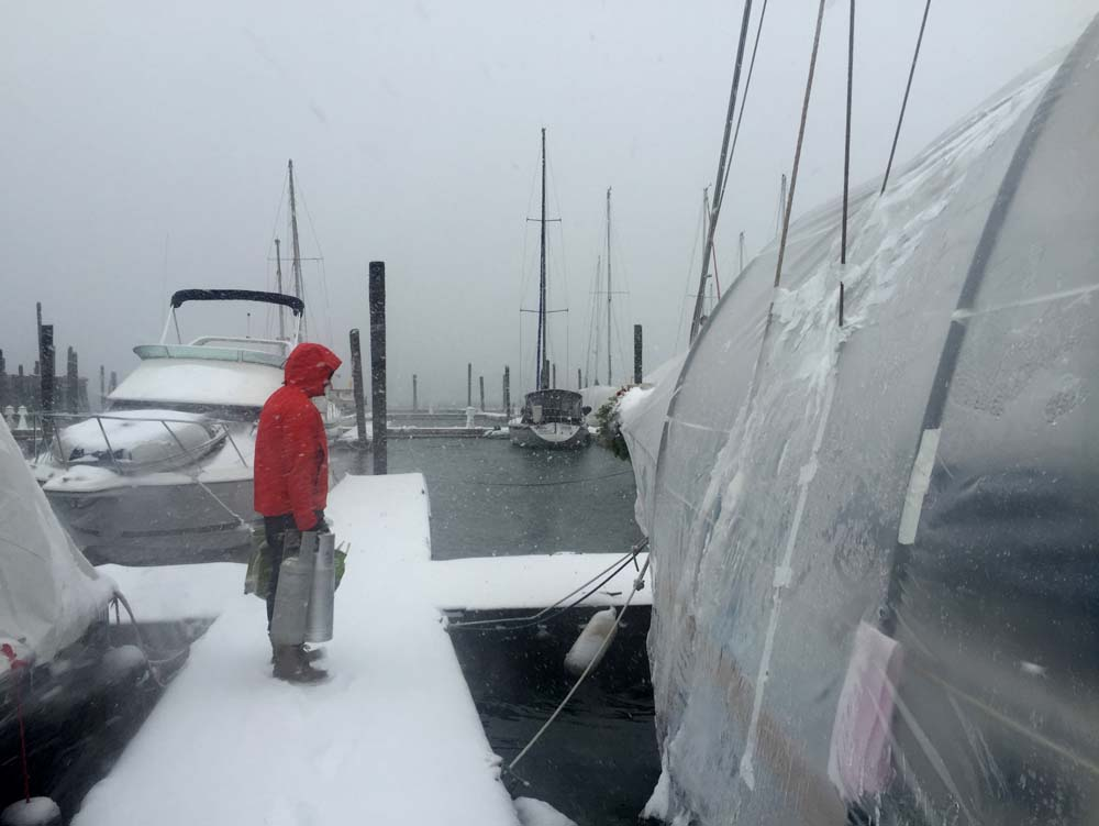 A blizzard on the boat in winter