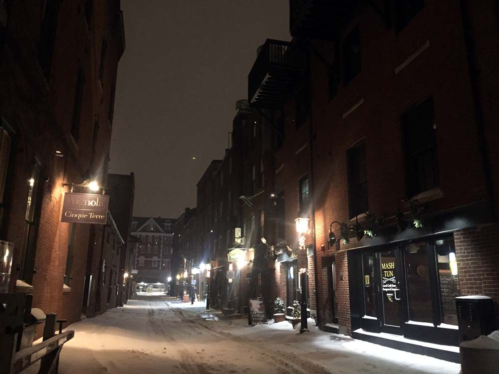 A snowy date night in Portland, Maine