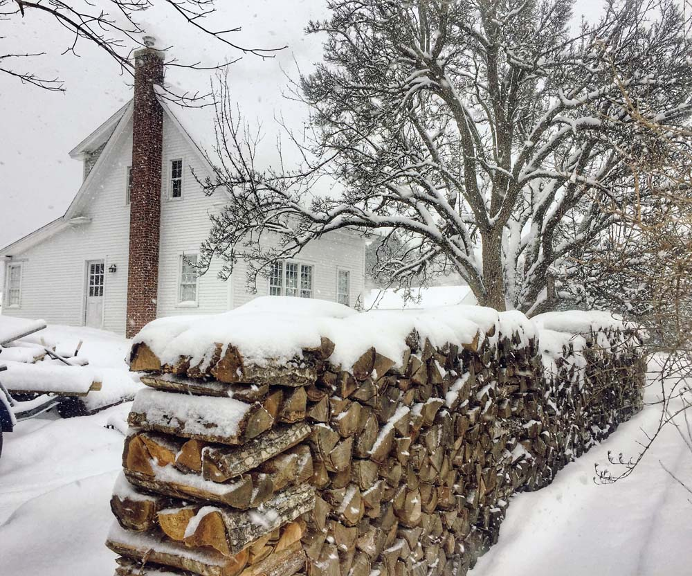 Bailey Island - Maine wood pile and cozy winter life
