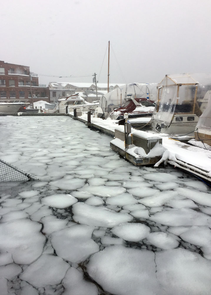 Ice in the marina - DiMillos, Portland, Maine - Living aboard in winter