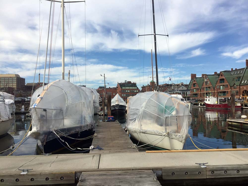 Winter liveaboards at DiMillos Marina, Portland, Maine