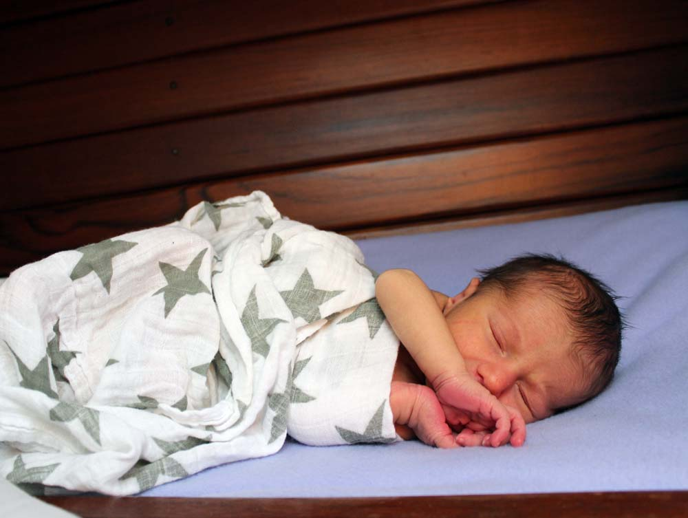 Zephyr Alvah Kruger Tetro - Newborn baby living aboard on a sailboat in Portland, Maine - Baby bed