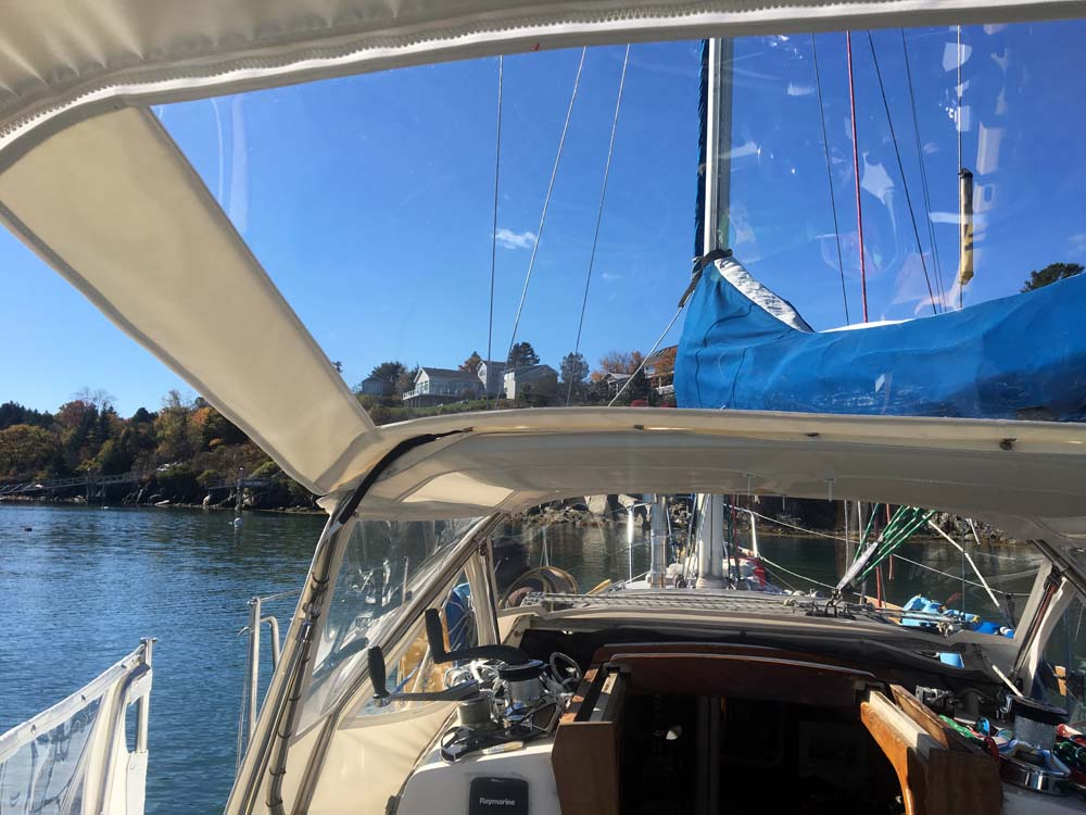 Makrolon windshield attached to bimini and dodger