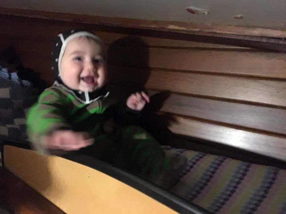 Zephyr's boat bed in the vberth - 6 month old baby on a sailboat