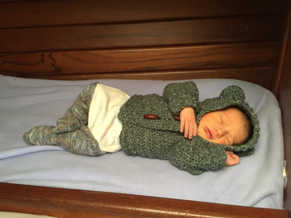 Newborn baby bed on a 33' sailboat